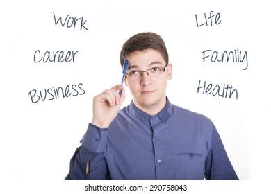 Businessman balance his work and life