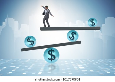 Businessman balancing in financial dollar concept