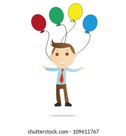 Businessman with balloon on white background