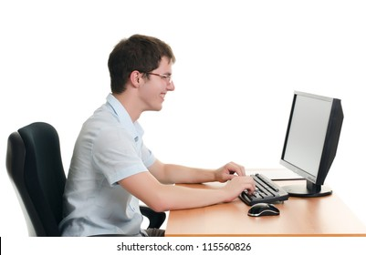 The businessman behind a table with computer