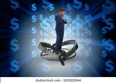 Businessman being trapped by dollar
