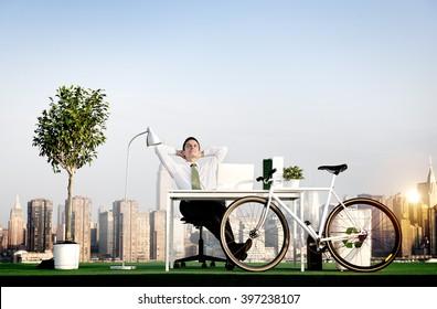 Businessman Bicycle Eco-Friendly Environmental Concept