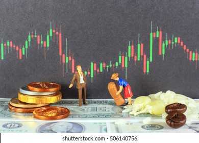 A businessman is bidding for agricultural product with a farmer. conceptual image for commodity trading.
