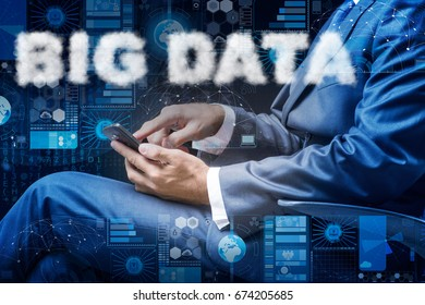 Businessman in big data concept
