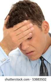 Businessman with a big headache (isolated on with with copy space)