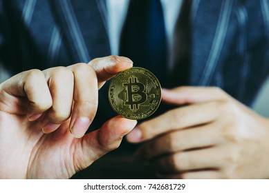 businessman with a bit coin