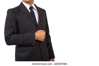 Businessman in black costume suite and necktie.