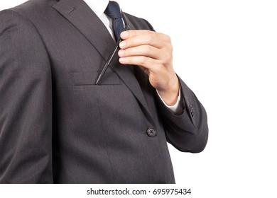 Businessman in black costume suite and necktie reach out on camera and show credit card.