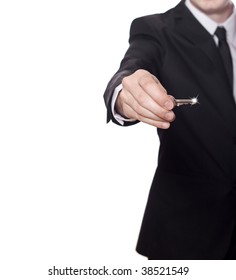 businessman in a black suit has the key to success, photo with a lot of copy space
