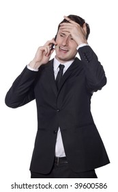 businessman in a black suit and a mobile phone with headache isolated on white