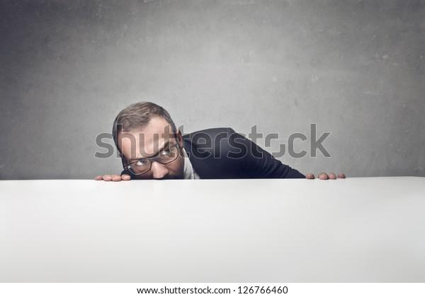 businessman with blank billboard