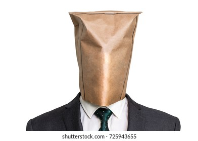 Businessman with a blank paper bag on the head - isolated on white
