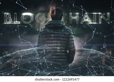 Businessman and blockchain cyberspace network background.