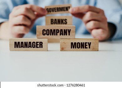 Businessman in a blue shirt arranges wooden jigsaw blocks with the word COMPANY, MONEY on the background of GOVERMENT and BANKS inscriptions. The real face of doing business, dependence on banks.