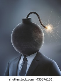 Businessman with a bomb in place of his head with a lit fuse - 3D illustration