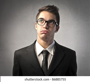 Businessman with bored expression