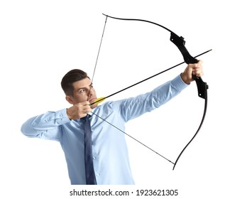 Businessman with bow and arrow practicing archery on white background