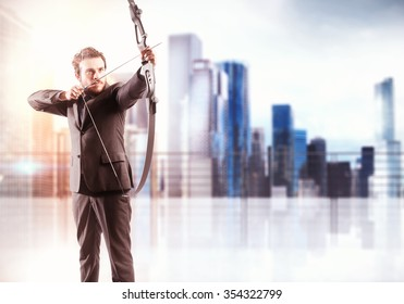 Businessman with bow and city view background