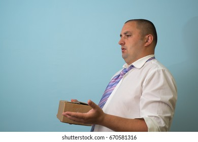 Businessman with a box