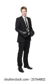 Businessman in boxing-gloves