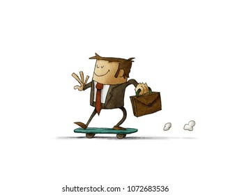 businessman with a briefcase in his hand is riding on a skateboard. isolated, white background