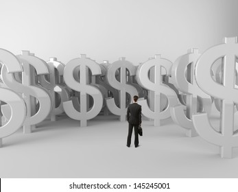 businessman with briefcase looking at dollar symbols