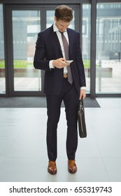 Businessman with briefcase using mobile phone at office