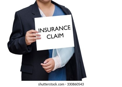 """businessman with broken hand and card with text """"insurance claim"""