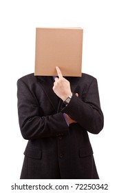 Businessman with a brown box on his head, isolated in white