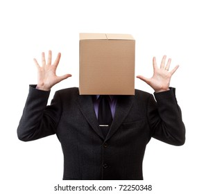 Businessman with a brown box on his head, in white