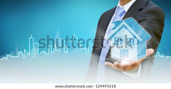 Businessman build your city concept