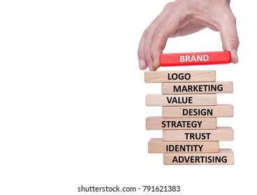 Businessman Building BRAND Concept with Wooden Blocks