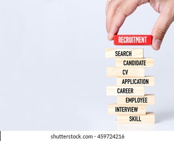 Businessman Building RECRUITMENT concept with Wooden Blocks