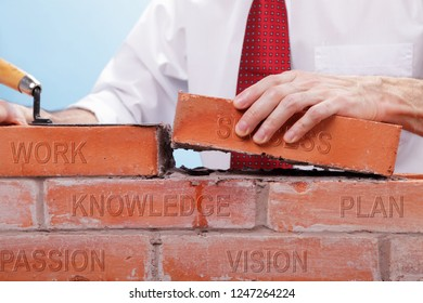 Businessman building a wall with bricks that have differents concepts printed on them. Concept for building a business or project.
