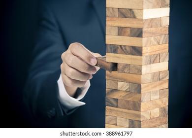 Businessman Builds a Tower