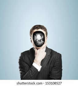 businessman with bulb and gears in head