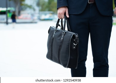 Businessman with business bag and business woman