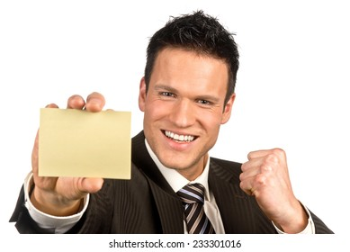Businessman with business card in hand