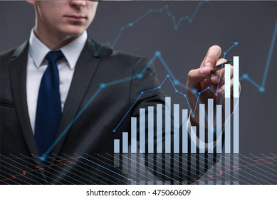 Businessman in business concept with chart