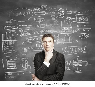 businessman with business plan concept on desk