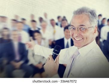 Businessman Business Presentation Speech Speaker Group Crowd