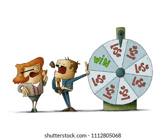 businessman and business woman with a roulette of fortune. risk concept. Isolated