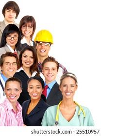 Businessman, business women, builder, nurse, architect, student. Over white background