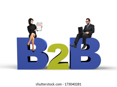 businessman and businesswoman, business to business concept