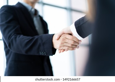 Businessman and businesswoman doing a handshake after business talk.  Concept of professional business people.