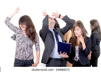 Businessman and businesswoman failure concept