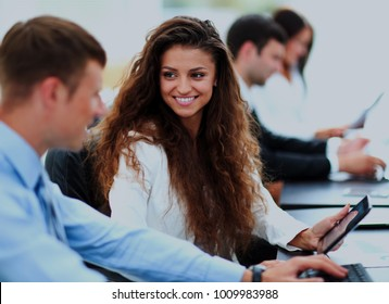 Businessman and businesswoman meeting In modern office.