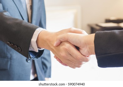 Businessman and businesswoman shaking hands for business agreement