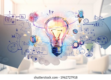 Businessman and businesswoman shaking hands and lightbulb drawing with circuit of network connection, icons of communication and analysis. Concept of business deal and agreement - Shutterstock ID 1962727918