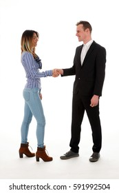businessman and businesswoman shaking hands on white